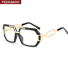 Peekaboo Newest stylish brand square frame glasses optical male large clear mens designer eyeglass frames black men gold oculos(China)