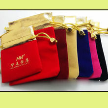 "Gold Mouth Velvet Gift Bag 12x15cm (4 6/8""x6"") Pack of 50 Makeup Jewelry Watch Packaging Pouch(China)"