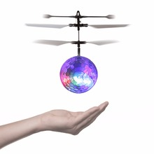 Children toy Flight Heli Ball Flying Crystal Ball Induction Aircraft Light Mini Heli Toy Shine Musical Shape Gift(China)