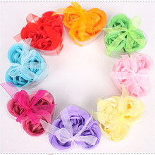 Hot Sale 3pcs Scented Bath Body Flower Soap Rose Petal in Heart Box Wedding Favor