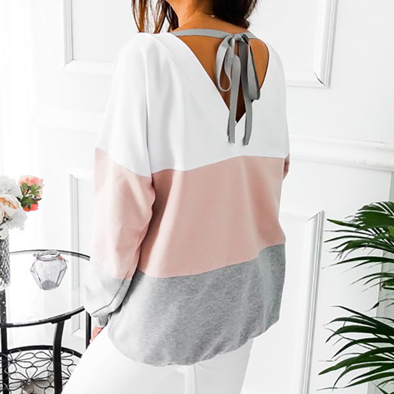 Sweatshirt, Women's Sweatshirt Patchwork Pullover 26