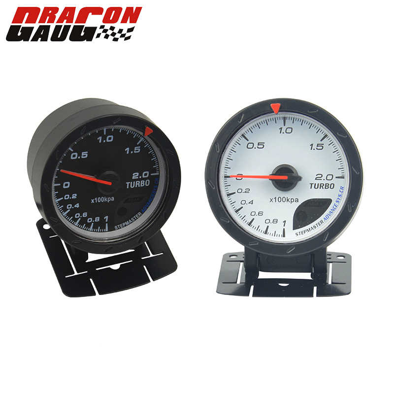 Dragon gauge 60MM Auto Car Trubin Boost gauge Red & White Lighting -1~2 kpa/Turbo Boost Pressure Reading Car Meter With Sensor