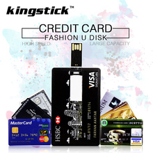 Kingstick Pen drive credit card USB Flash Drive 4GB 8GB memory stick 16GB 32GB 64GB 128GB pendrive high quality U disk(China)