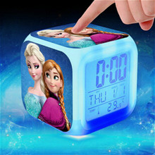 Princess Elsa Anna Minions Pokemon go alarm clock reloj despertador Kids Cartoon led digital clock electronic desk clock(China)