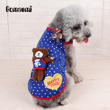 Gomaomi Polka Dot Pet Clothes Cat Dog Vest with Removable 3D Bear Toy Teddy Party Tank Top(China)