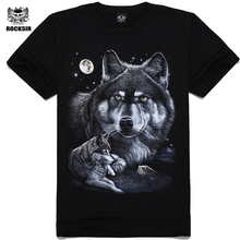 Rocksir 2017 Summer Mens Casual T Shirts Black wolf Print Brand Clothing For Man's Short Sleeve Slim T-Shirts Male Tops Tee(China)