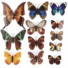 House Decoration 12 PCS Stereo Butterflies Refrigerator Stickers Home Decor Removable 3D Wall Stickers Home Decor Hot Sale D0029