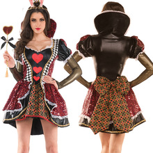 Women's Alice In Wonderland Costume Red Queen of Hearts Costume Fancy Dress for Women Halloween Party Cosplay Costumes Adult
