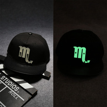 Fashion Design 12 Constellations Acrylic Luminous Baseball Caps High Quality Black Flat Edge Hiphop Unisex Basketball Caps(China)