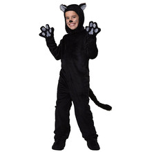 Kids Black Cat Costume Little Kitten Cosplay Costume Animal Onesie Fancy Dress Jumpsuit with Headwear Paws Toddlers For Children