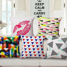Fashion Geometry Red Lips One Side Printing Home Decor Sofa Car Seat Decorative Cushion Cover Pillow Case Capa Almofada
