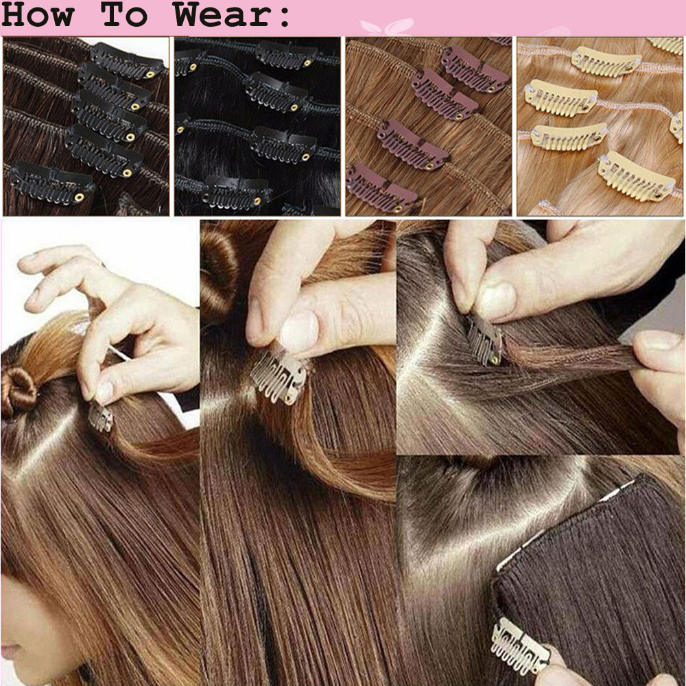 S-noilite-100-REAL-THICK-180G-8PCS-FULL-HEAD-Clip-in-on-Hair-Extensions-18-Clips