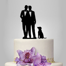 2017 Real Rushed Acrylic Gay And 1 Dog Wedding Cake Topper/Wedding Stand/Wedding Decoration Wedding Cake Accessories Casamento