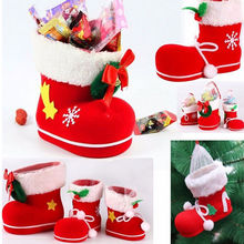 3 Sizes 1pc Christmas Boots Flocking Boots Socks Creative Gift Box of Candy Decorative Red Boots Christmas Decorations