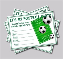 20pcs Football Invites kids Childrens boys football Birthday party invitations party supplier decoration A5 size free shipping