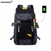 FengDong Brand Travel Large Capacity Backpack Male Luggage laptop Backpack schoolbag Men Functional Bags Casual Rucksack Daypack