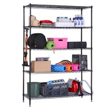LANGRIA 5 Tier Black Heavy Duty Extra Large Garage Kitchen Wire Shelving Unit Storage Organization Rack with Adjustable Feet
