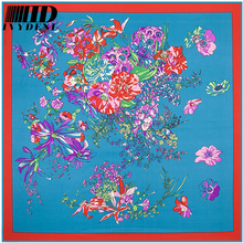 Famous Luxury Brand Scarf Women 2016 Spring Real Silk Scarf Twill Silk Scarf Square Scraf Printed Flower Large Bandana(China)