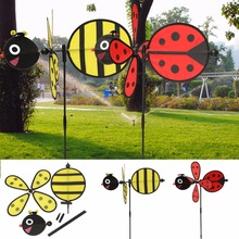New 1PC Bumble Bee / Ladybug Windmill Whirligig Wind Spinner Home Yard Garden Decor Toy Gift For Boys Girls Baby(China)