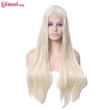 L-email wig Beige Women Lace Front Wig 60cm/24inches Long Straight Synthetic Hair Natural Hairline Wigs ship from UK(China)
