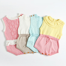 2017 baby kids boutique knitted leotard infant baby summer rompers blue pink baby girls jumpersuit little baby one piece sweater