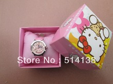 Hello Kitty watches girl KT cat steel belt bowknot diamond children watch    free shipping   in box  1pcs/lot