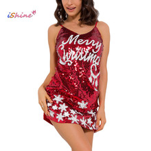 Sexy Erotic 2017 Womens Sexy Lingerie MERRY CHRISTMAS Sequins Strappy Babydoll Sleepwear Lady Pajamas Lenceria Underwear(China)