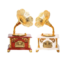 Luxury Gold Phonograph Music Box Clockwork Type Rotary Classical Imitation Wooden Gramophone Music Box FREE SHIPPING!