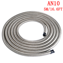 5M AN10 Stainless Steel Braided Oil Hose Fuel Hose Line Oil Gas Hose Pipe Oil Cooler Fitting Adapter Hose Silver