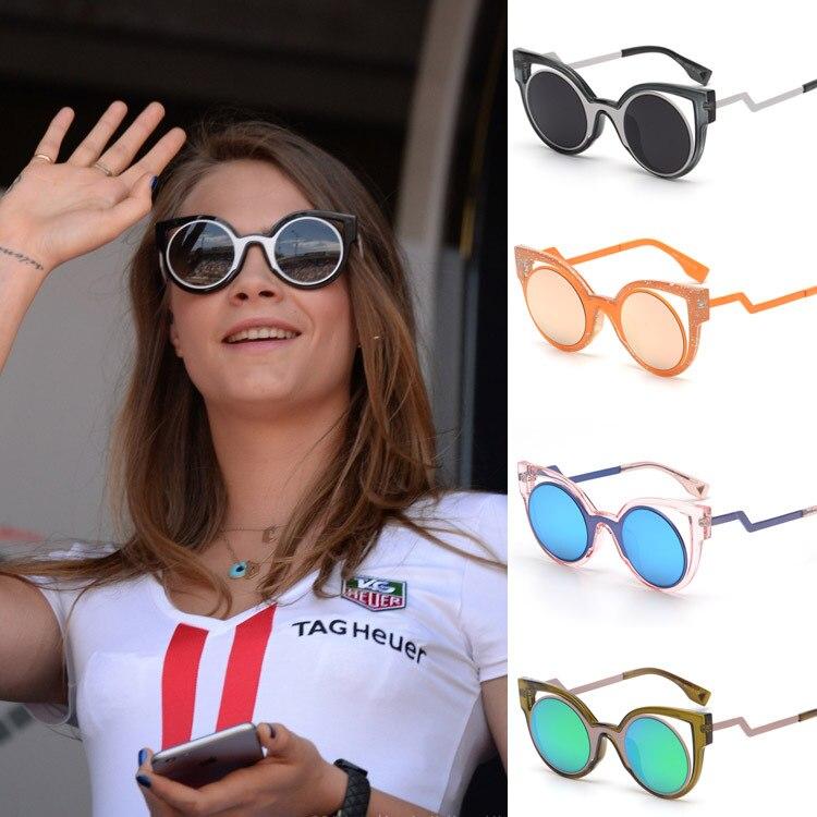 New vintage cat eye Cara Delevingne Sunglasses brand women Metal round mirror purple pink orange Sun lenses glasses UV400 shades<br><br>Aliexpress