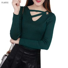 V-neck Hollow Lady Sweater Slim Knitted Base Shirt Winter Long-Sleeved Pullover Four-Color Sexy Swetry Damskie Fashion Tops