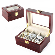 Wood Luxury Watch Boxes MDF Wristwatch Packaging Case Box Rectangle Storage Boxes for Expensive Watch Display Collection 3Grid(China)
