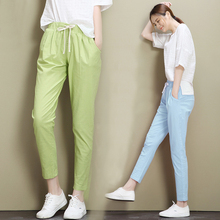 2017 Hot Summer Cotton Linen Trousers Women Elastic Waist Solid Color Breeches for Women Pantalon Mujer Lady Pants Office Pants