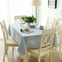 Christmas Cloth Table With Tassels Striped Rectangular Tablecloths Japan Style Home Dinner Table Cloth For Wedding Table Cover