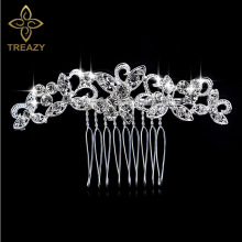 TREAZY Silver Plated Bride Crystal Leaf Flower Hairpins Wedding Tiara Bridal Hair Combs Women Engagement Party Hair Accessories