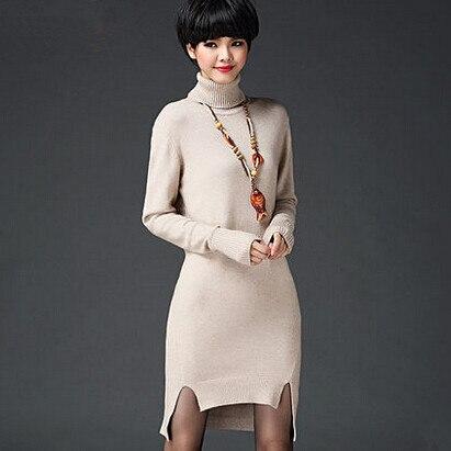 New Korean Women Long Sleeve Split Dresses Elegant Turtleneck Knitted Slit Sweater Dress Casual Slim Basic Dress VestidosÎäåæäà è àêñåññóàðû<br><br>