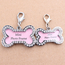 1 Piece Dog Identity Card Pet Jewelry Crystal Bone Name Photo Collar Pendant Accessories