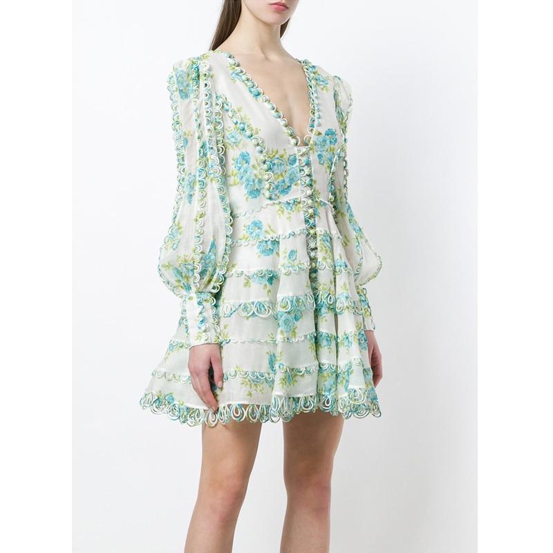 runway fashion 2018 green leaves blue floral print bohemian beach short dress crochet loops deep v neck long sleeve blouse dress
