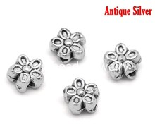 Buy DoreenBeads 50PCs Silver Tone Flower Charms Spacers Beads 7mm, B00080, yiwu for $1.21 in AliExpress store