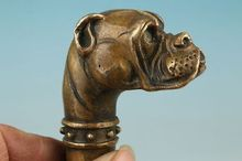 Old Bronze Hand Carved Skull Dog Statue Cane Walking Stick Head(China)