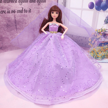 Hot 1 Pc Baby Kids Girls Fashion Dolls Sleeveless Wedding Dress Princess Handmade Diamonds Doll Dress Up Clothes Accessories Toy(China)
