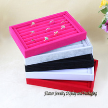 High Quality 14.5 x 22.5cm Ring Display Tray Ring Storage Box Jewelry Case 5 Colors[ Red, Pink, Gray, Black, White] Availbale