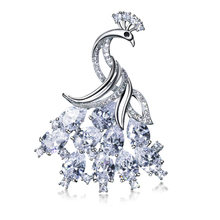 Beauty Women Brooch Pins Peacock Show off Fashion Wedding Accessories Rhodium Color Clear AAA Cubic Zirconia Brass Metal