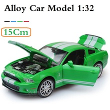 15Cm Mustang Alloy Car, scale 1/32 with light and music, Nice collection and gift, Diecast car 4 doors