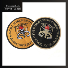 high quality custom clothing badges brand crochet machine round woven labels personalized custom logo labels sewing on clothes