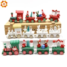 1Set Cute Small Train Creative Desktop Wood Craft Christmas Ornaments For Home Christmas Decoration DIY Gift Kids Toys Supplies(China)