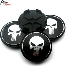 Rhino Tuning 4PC 68mm Black Skull Punisher Car Wheel Centre Center Hubs Caps Emblem For Uno Sandero Prisma Siena 354(China)