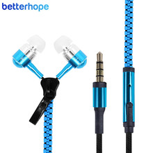 BetterHope BH003 Wired Zipper Earphone Portable Sport Stereo Headphone Earbud with Microphone for iPhone Samsung MP3 MP4