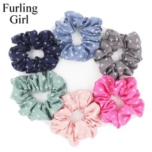 Furling Girl 1PC Fashion Animal Dog/Cat Paw Pattern Fabric Hair Scrunchy Ponytail Holder Hair ties Gum Hair Bands(China)