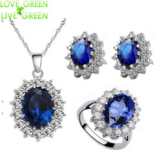 Queen Royal ocean blue  white gold austrian crystal rhinestones zircon pendant chain necklace earrings ring Jewelry sets 8585